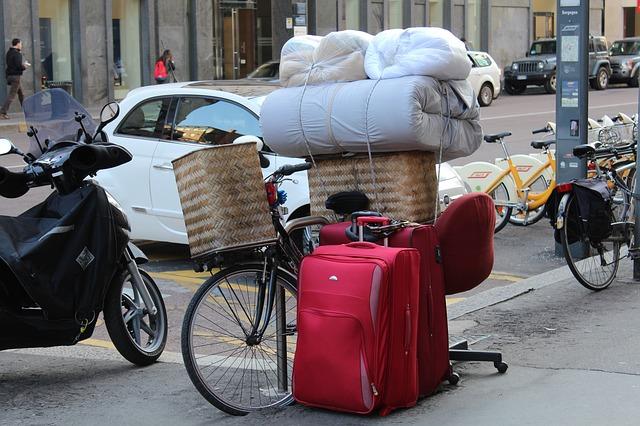 kufry, náklad, kolo