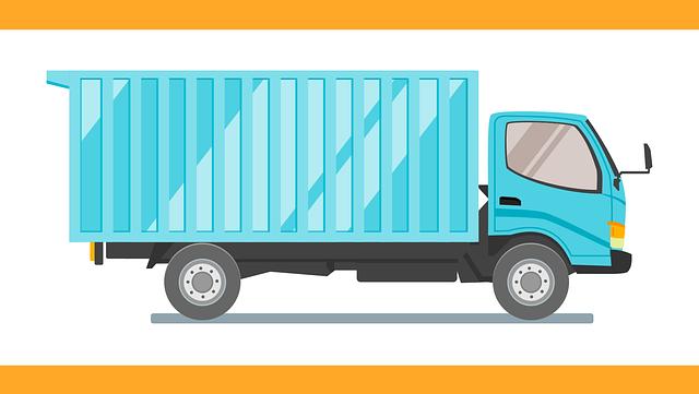 modré nákladní auto