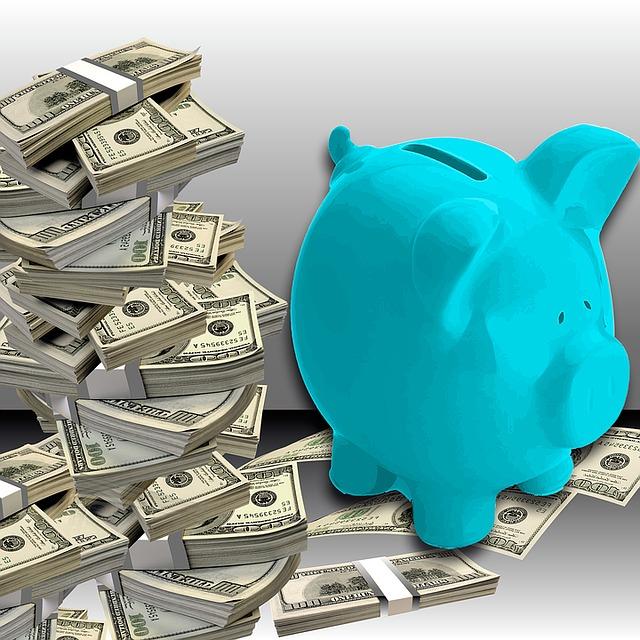 modré prasátko a balíčky bankovek